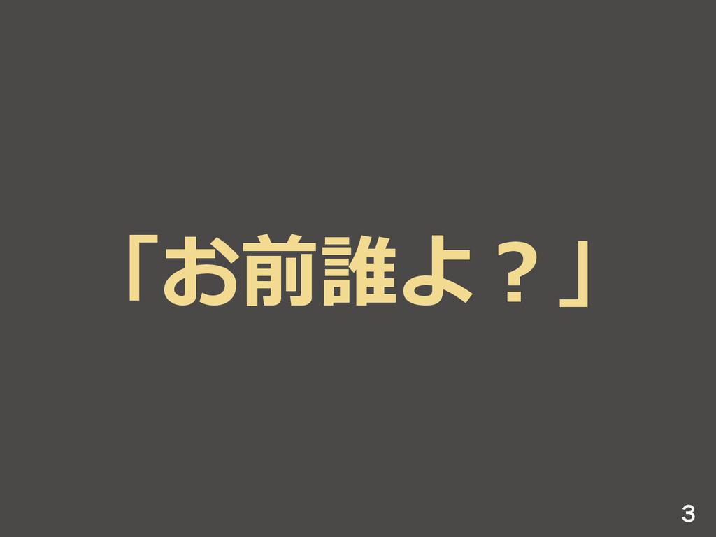 「お前誰よ?」 3