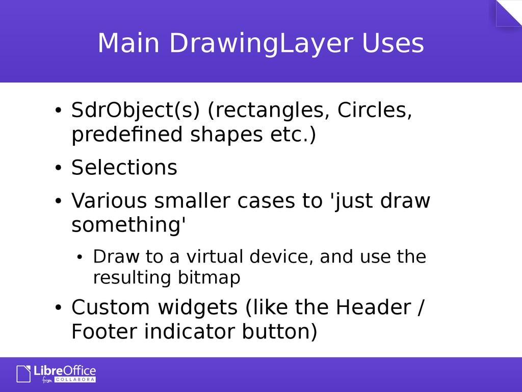 Main DrawingLayer Uses ● SdrObject(s) (rectangl...