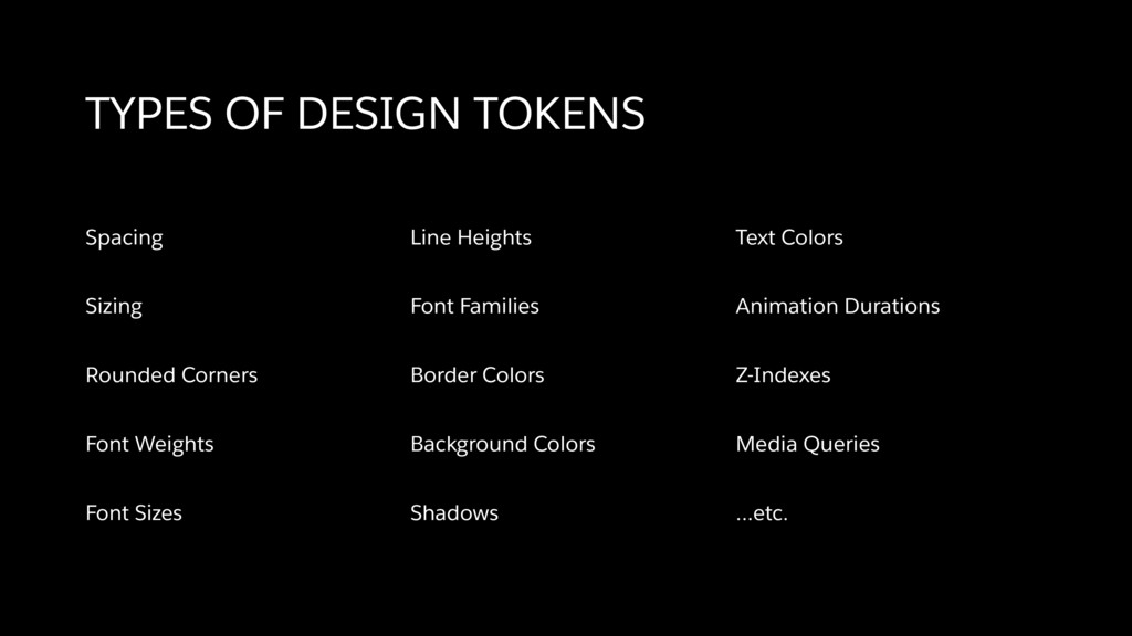 TYPES OF DESIGN TOKENS Spacing Sizing Rounded C...