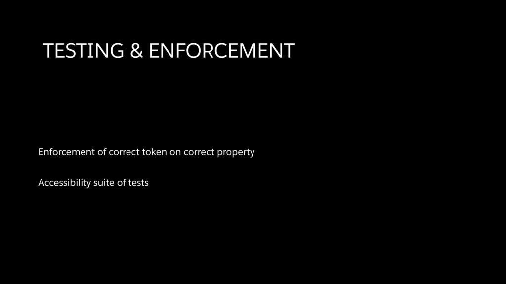 TESTING & ENFORCEMENT Enforcement of correct to...