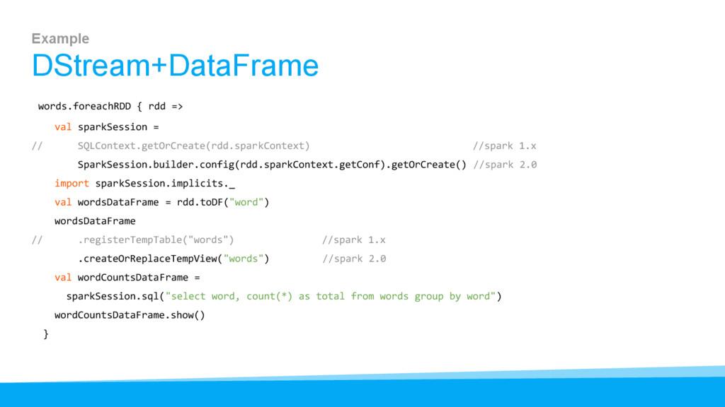 Example DStream+DataFrame words.foreachRDD { rd...