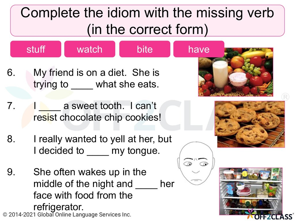 6. My friend is on a diet. She is trying to ___...