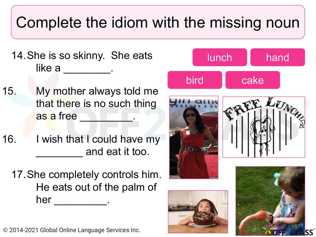 14.She is so skinny. She eats like a ________. ...