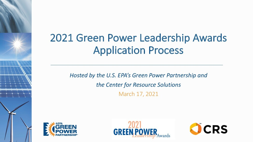 2021 Green Power Leadership Awards Application ...