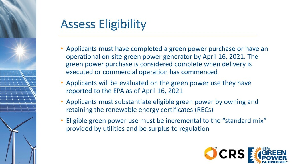 Assess Eligibility • Applicants must have compl...