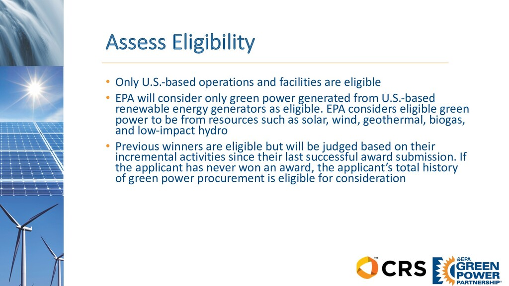 Assess Eligibility • Only U.S.-based operations...