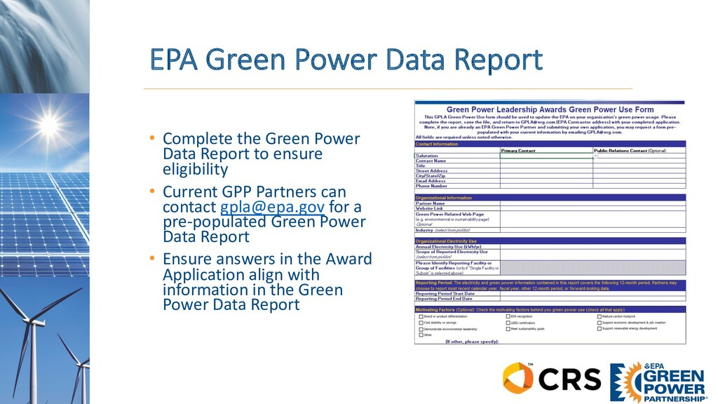 EPA Green Power Data Report • Complete the Gree...