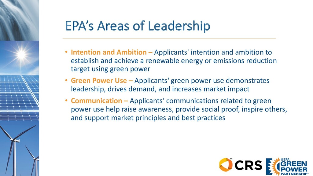 EPA's Areas of Leadership • Intention and Ambit...