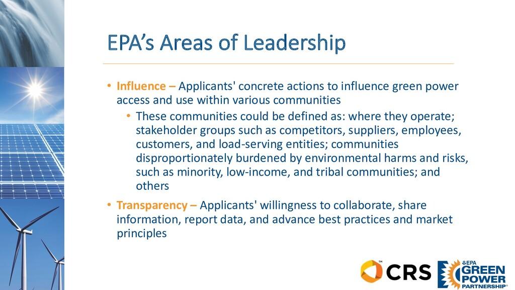 EPA's Areas of Leadership • Influence – Applica...