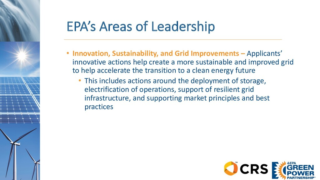 EPA's Areas of Leadership • Innovation, Sustain...