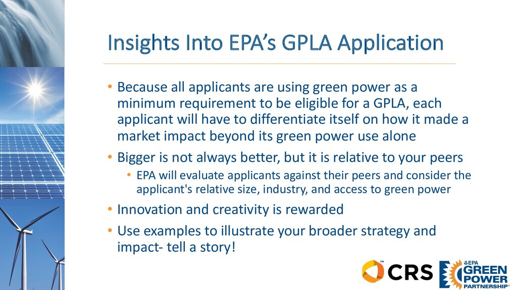 Insights Into EPA's GPLA Application • Because ...