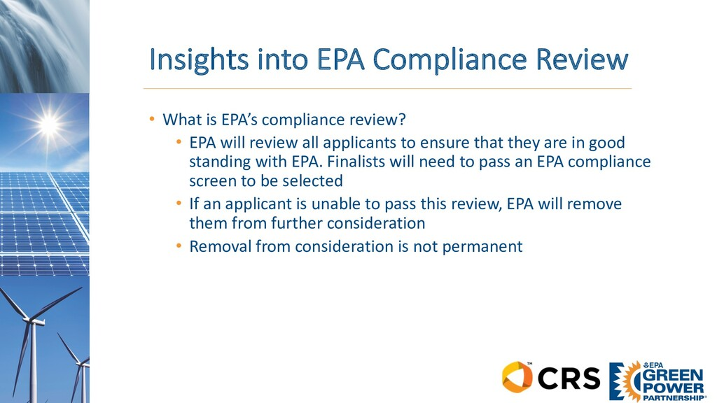 Insights into EPA Compliance Review • What is E...