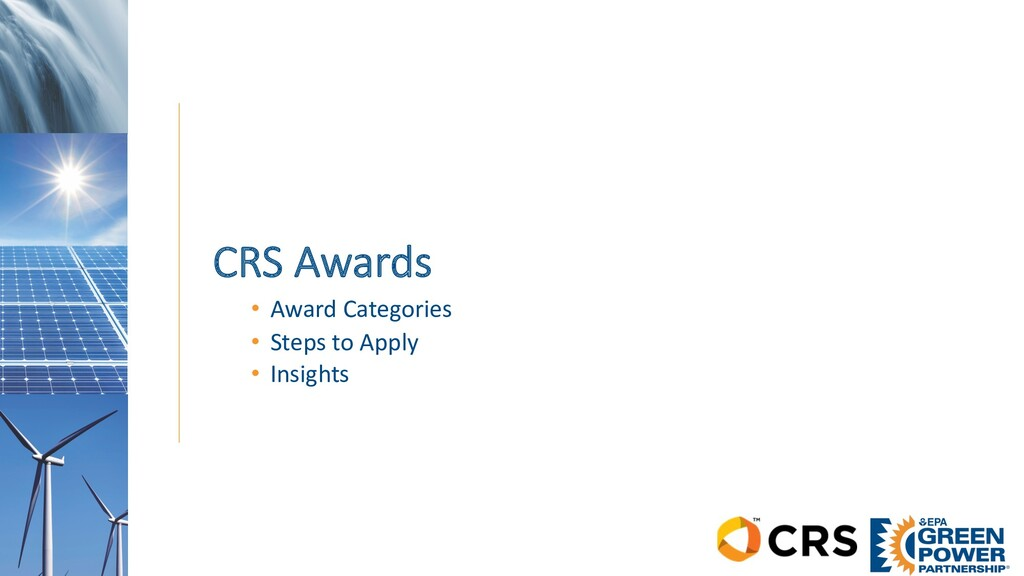 CRS Awards • Award Categories • Steps to Apply ...