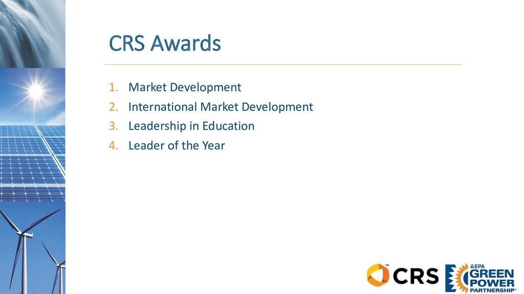 CRS Awards 1. Market Development 2. Internation...