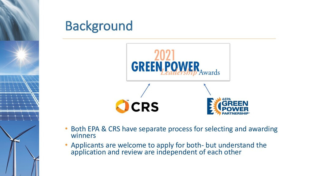 Background • Both EPA & CRS have separate proce...