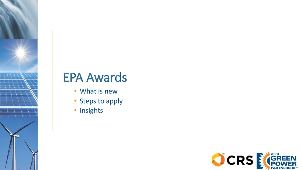 EPA Awards • What is new • Steps to apply • Ins...
