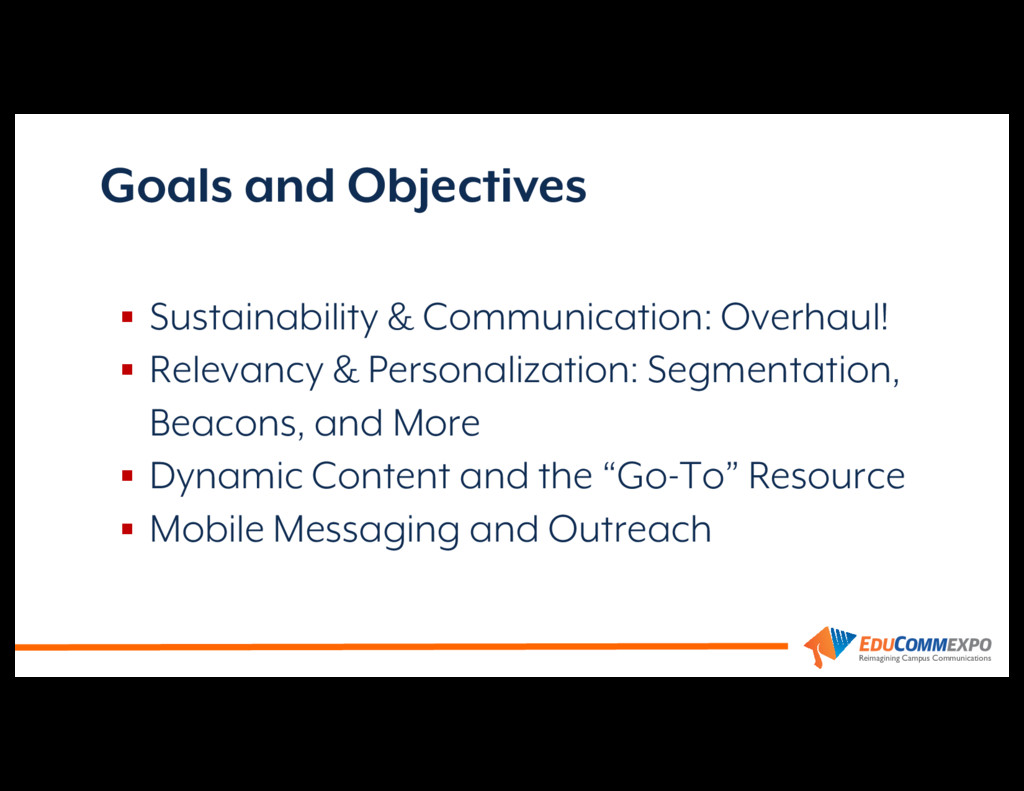 Reimagining Campus Communications Goals and Obj...