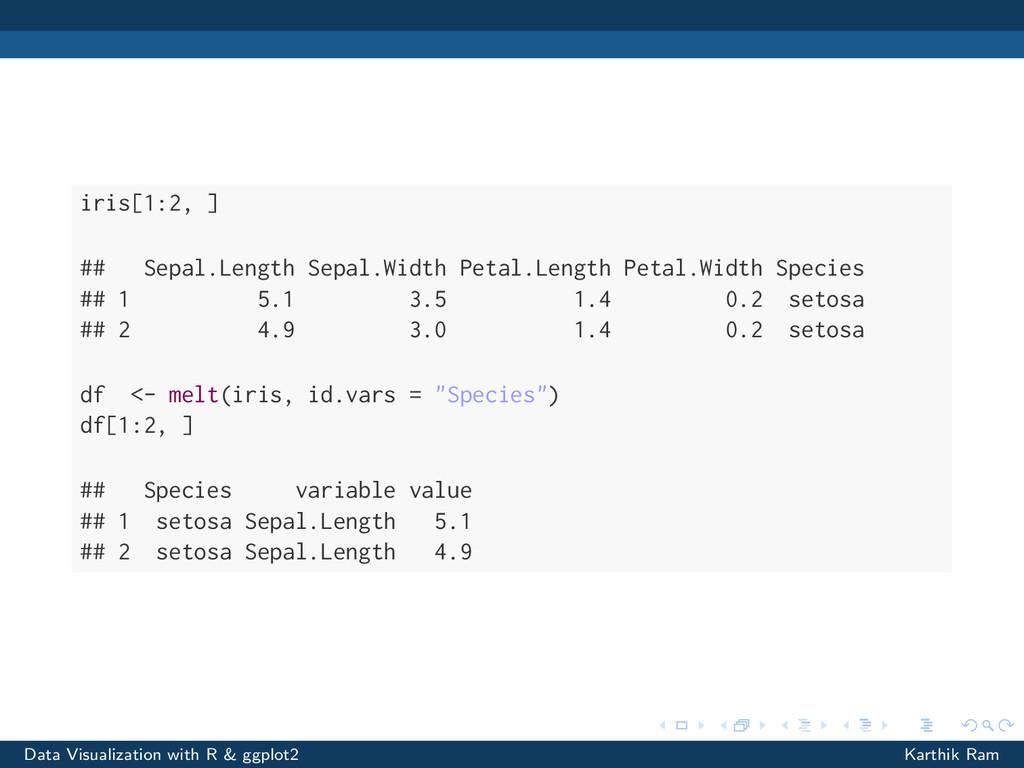 iris[1:2, ] ## Sepal.Length Sepal.Width Petal.L...