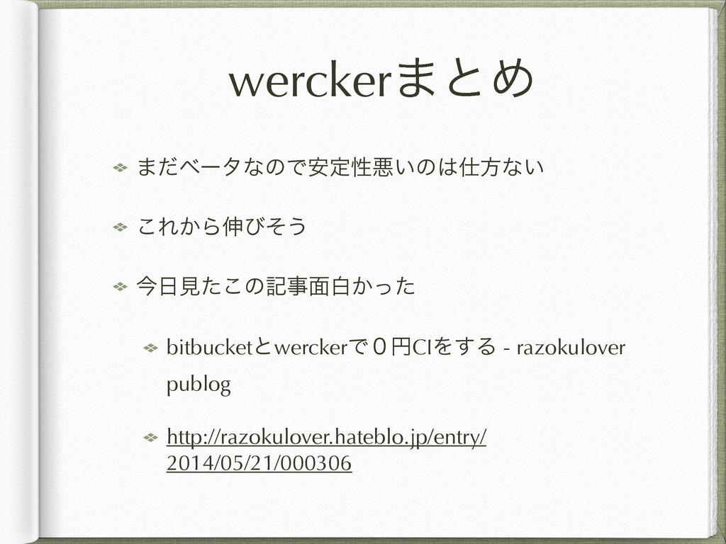 wercker·ͱΊ ·ͩϕʔλͳͷͰ҆ఆੑѱ͍ͷํͳ͍ ͜Ε͔Β৳ͼͦ͏ ࠓݟͨ͜ͷه...
