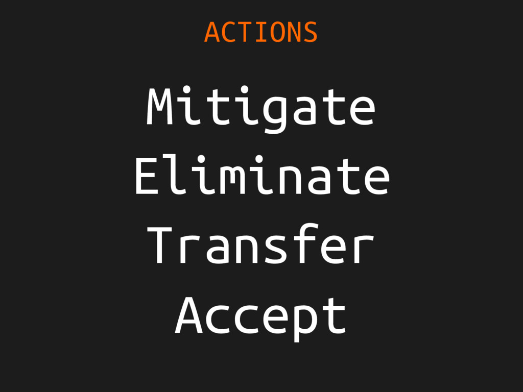 Mitigate Eliminate Transfer Accept ACTIONS