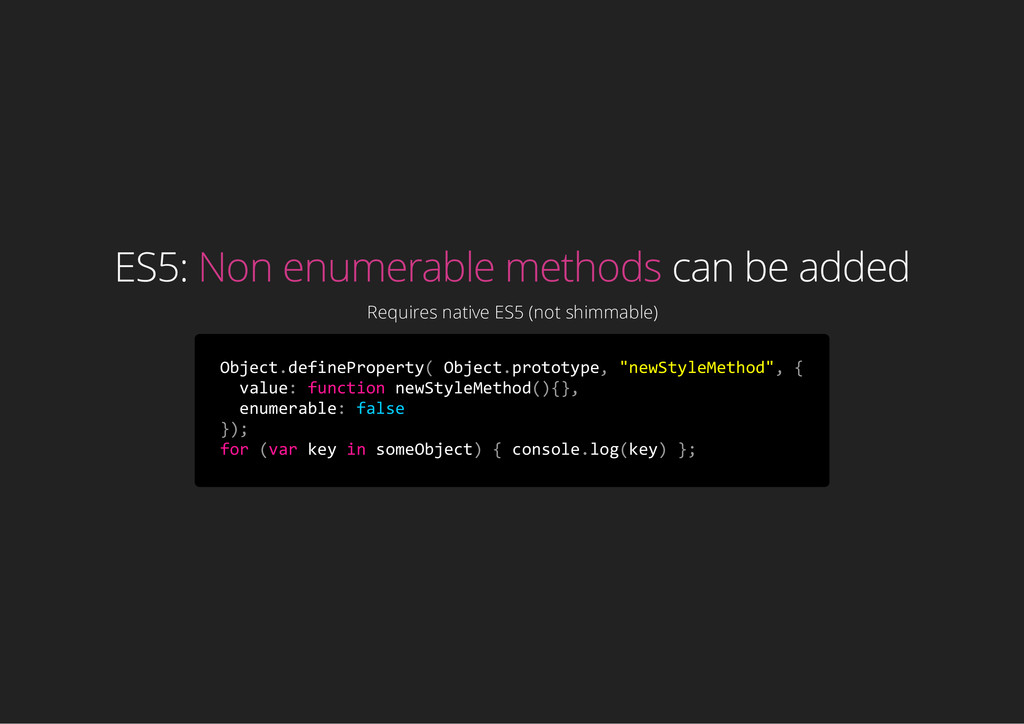 ES5: Non enumerable methods can be added Requir...
