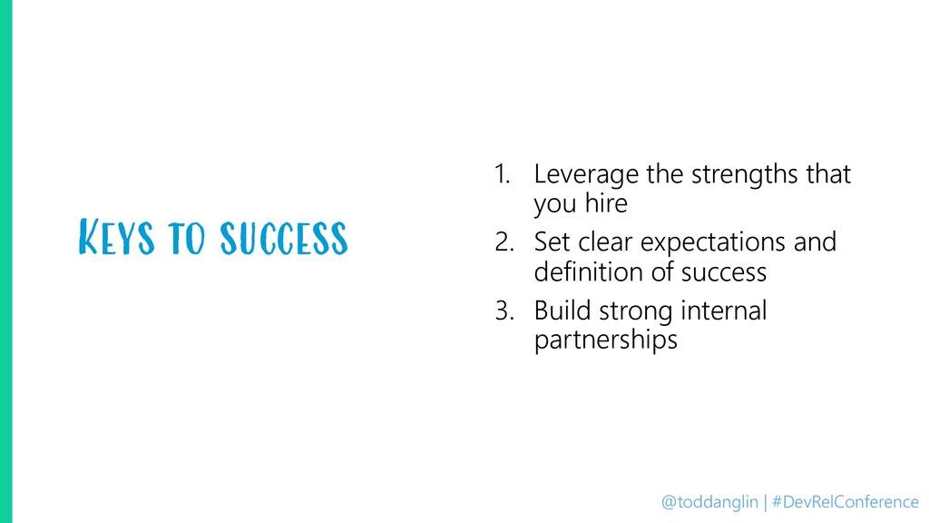 @toddanglin | #DevRelConference Keys to success...