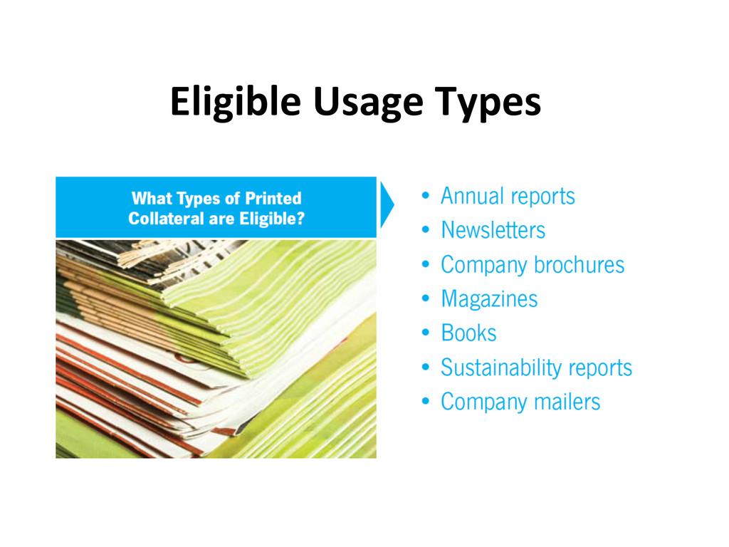 Eligible Usage Types