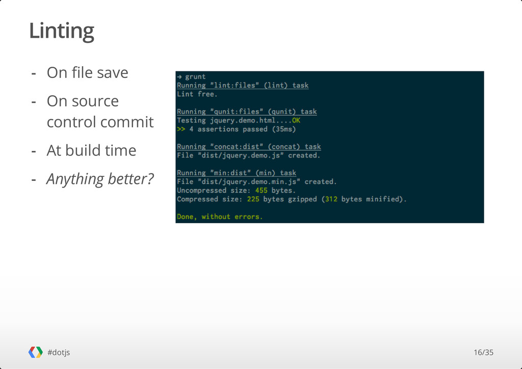 Linting #dotjs On file save On source control c...