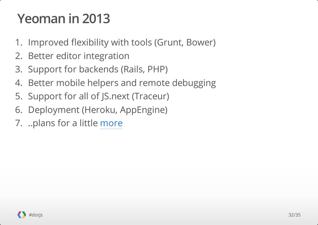Yeoman in 2013 #dotjs 1. Improved flexibility w...