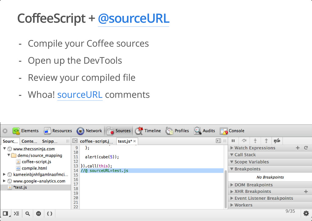 CoffeeScript + @sourceURL #dotjs Compile your C...