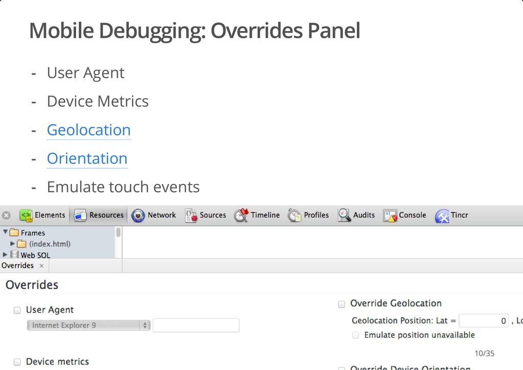 Mobile Debugging: Overrides Panel #dotjs User A...