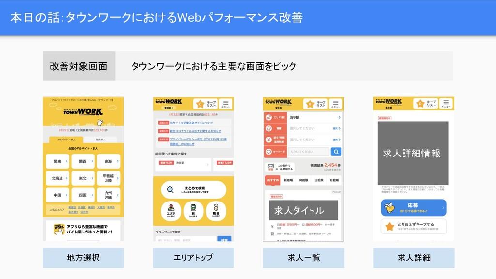 本日の話:タウンワークにおけるWebパフォーマンス改善 改善対象画面 タウンワークにおける主要...
