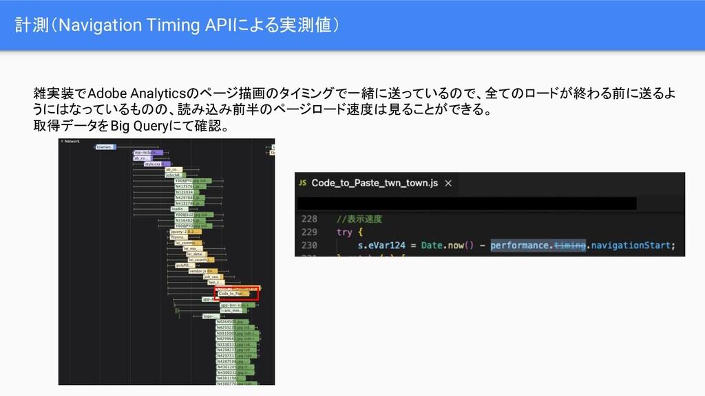 計測(Navigation Timing APIによる実測値) 雑実装でAdobe Analy...