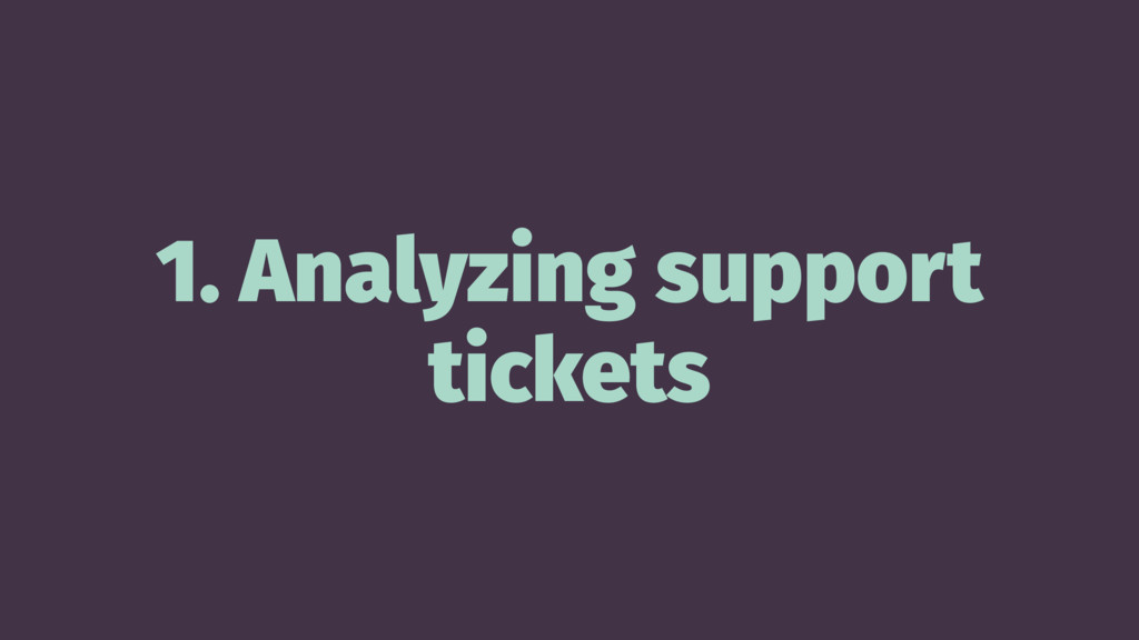 1. Analyzing support tickets