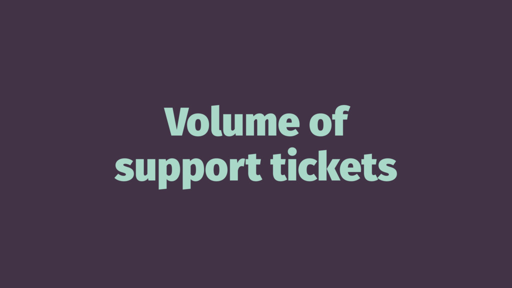 Volume of support tickets