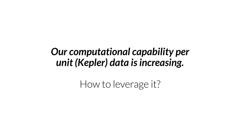 Our computational capability per unit (Kepler) ...