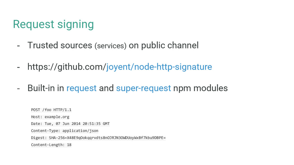Request signing - Trusted sources (services) on...