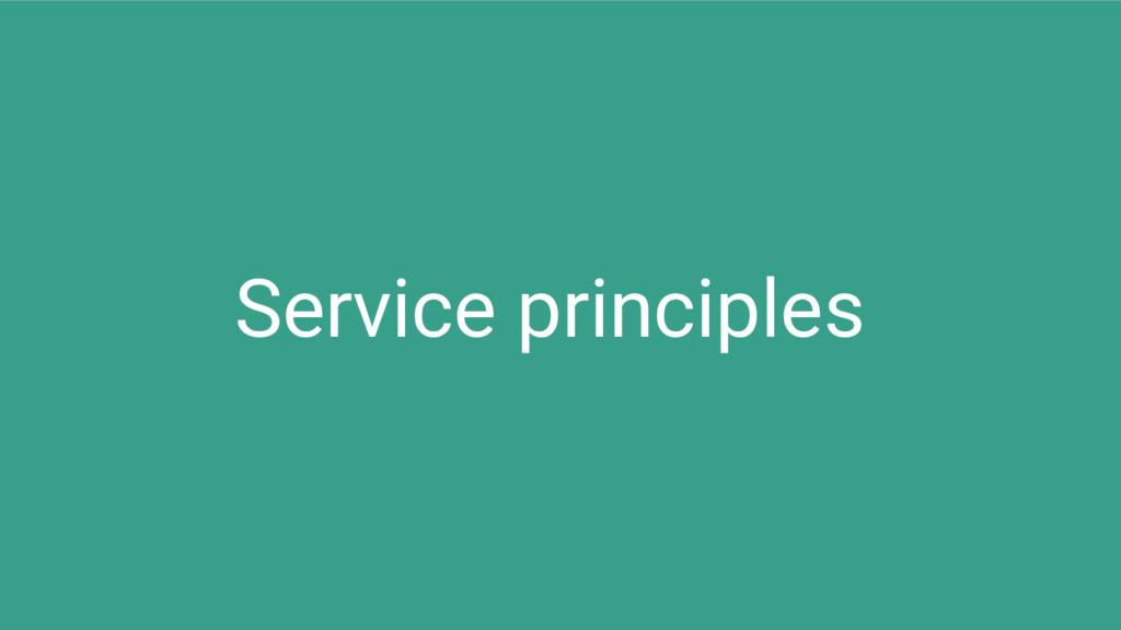 Service principles
