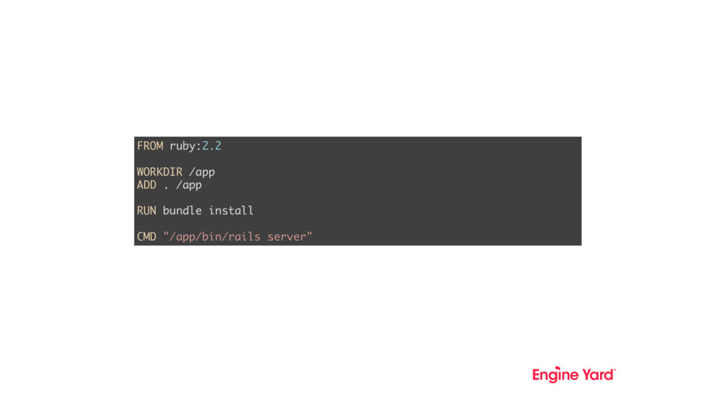 FROM ruby:2.2 WORKDIR /app ADD . /app RUN bundl...
