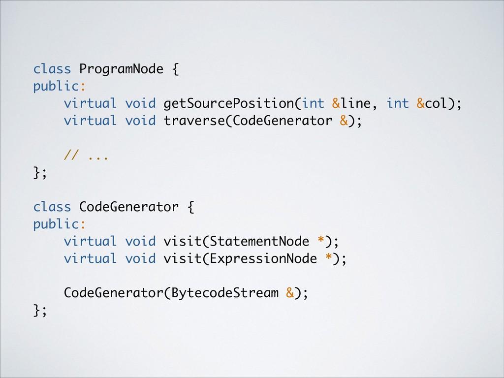 class ProgramNode { public: virtual void getSou...