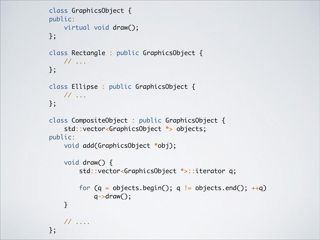 class GraphicsObject { public: virtual void dra...