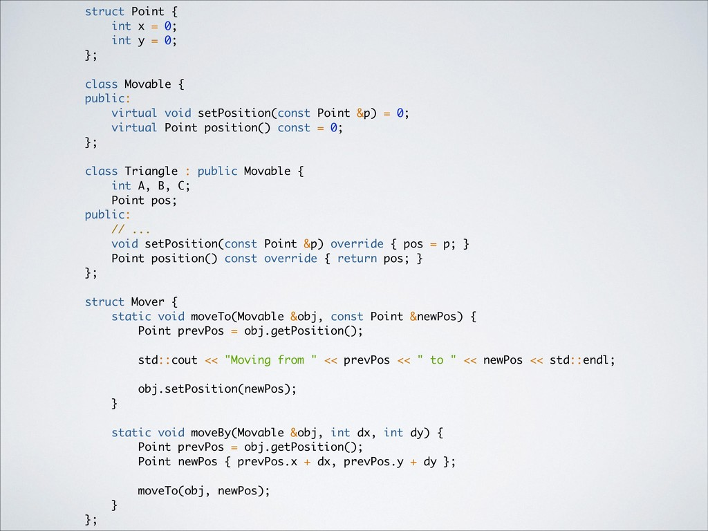 struct Point { int x = 0; int y = 0; }; class M...