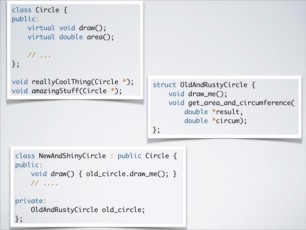 class Circle { public: virtual void draw(); vir...