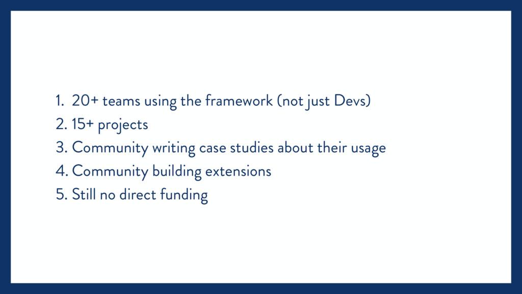 1. 20+ teams using the framework (not just Devs...