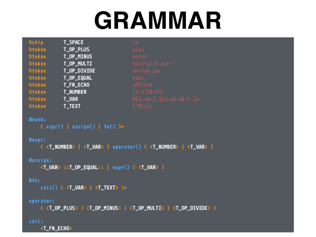GRAMMAR %skip T_SPACE \s %token T_OP_PLUS plus...