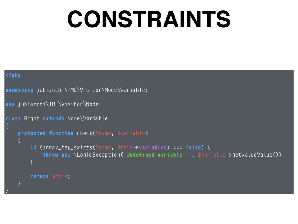 CONSTRAINTS <?php  namespace jubianchi\TML\Vi...