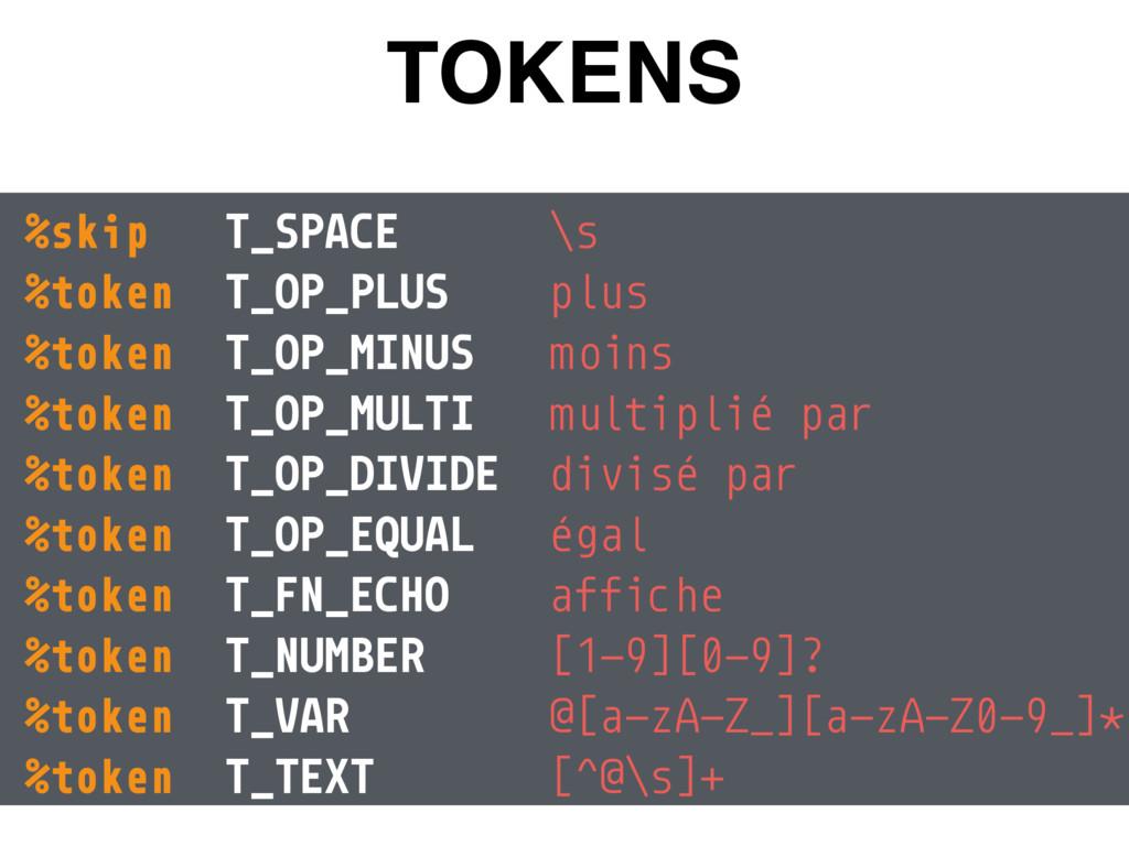 TOKENS %skip T_SPACE \s %token T_OP_PLUS plus...