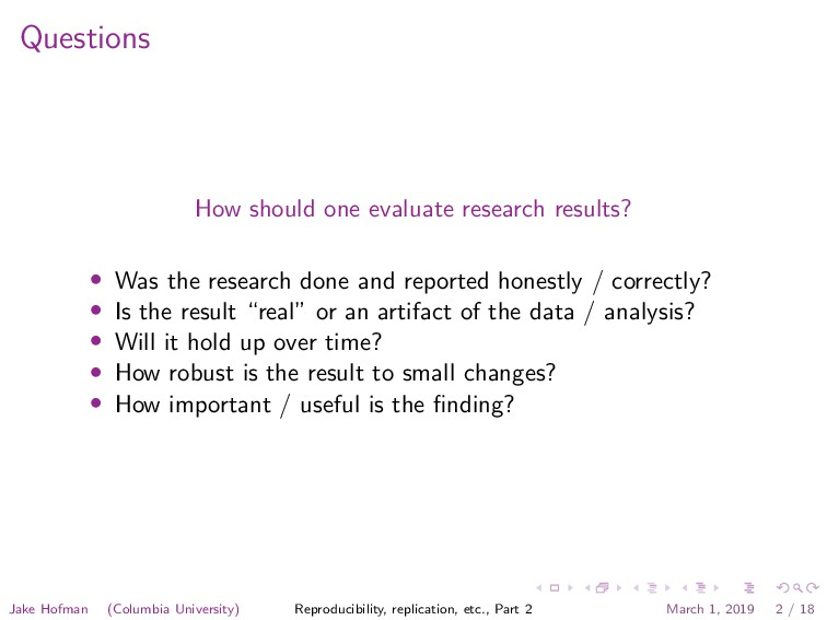 Questions How should one evaluate research resu...