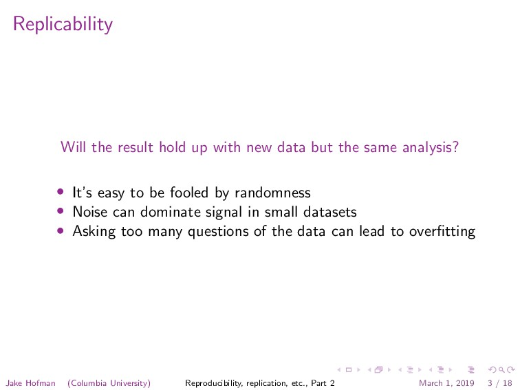 Replicability Will the result hold up with new ...