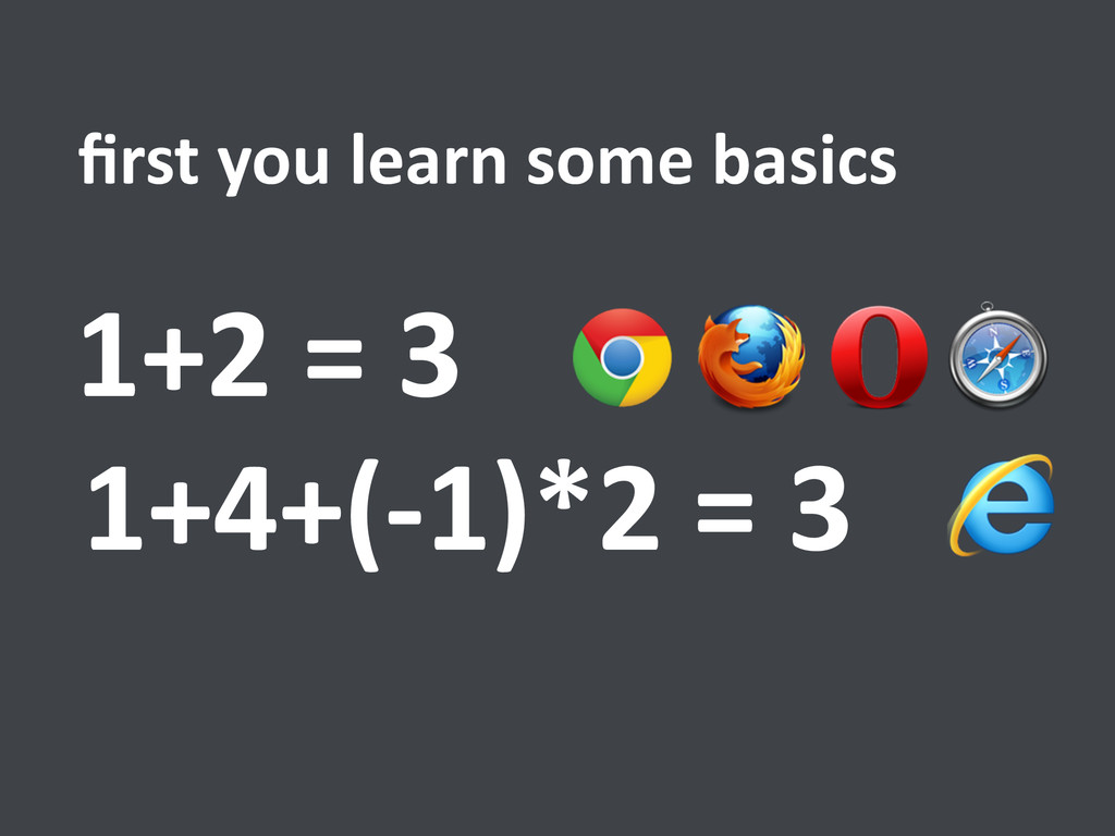 1+4+(-‐1)*2 = 3 first you learn ...